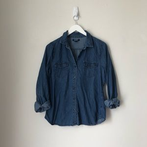 Old Navy Chambray Denim Blue Button-up
